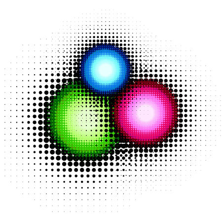halftone buttons, colorful vector  without gradient Vector
