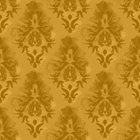 brown backgrounds: Vintage damask wallpaper , vector seamless pattern