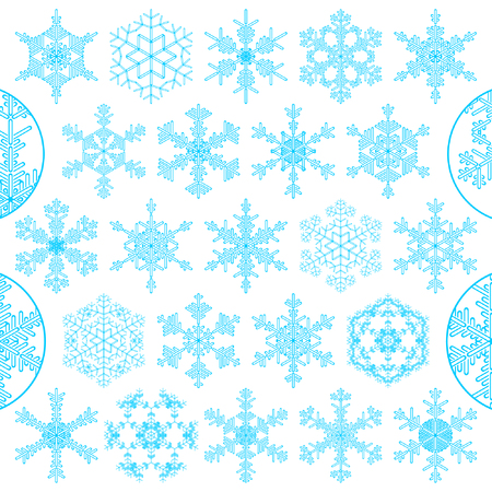 set of decorative snowflakes Vector