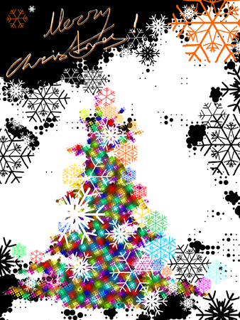 christmas tree, vector without gradient,  place for text Vector