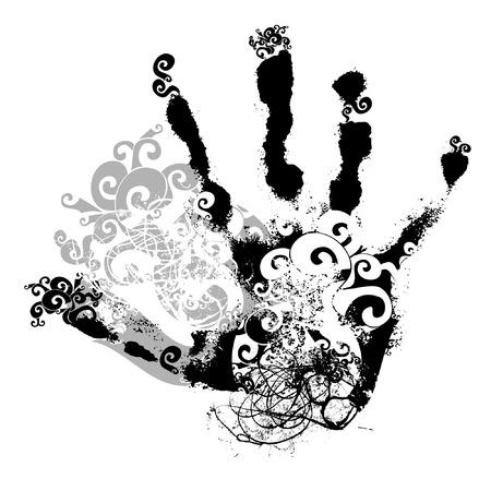 handprint: scroll handprint, vector, floral style