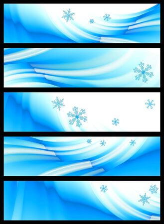 set of five winter banners