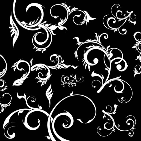 set of floral design elements,   floral style Stock Vector - 8184007