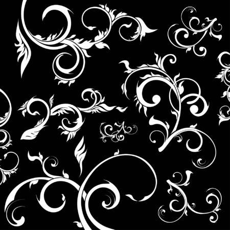 ensemble d'éléments de design floral, style floral