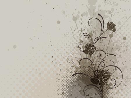 curled corner: floral background  Illustration