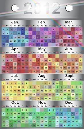 eps 10: calendar grid 2012 english, vector EPS 10 Illustration