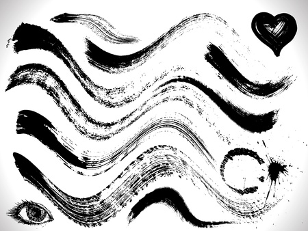 vector set of grunge curves strokes, dry brush effect Vector