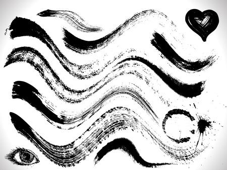 vector set of grunge curves strokes, dry brush effect Stock Illustratie