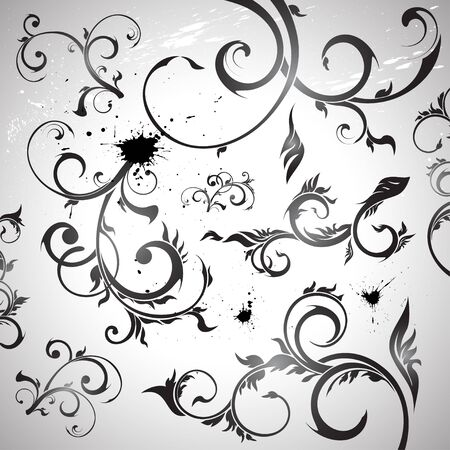 set of curled floral design elements, vector Stock Vector - 11967961