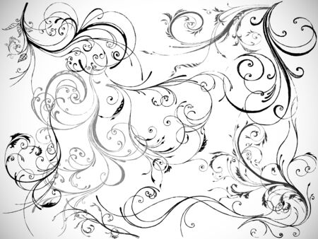 set of curled floral design elements, vector Stock Vector - 11967962