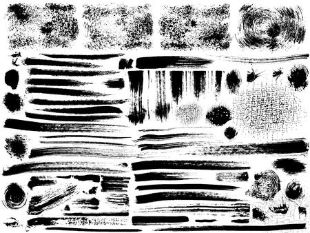 vector set of grunge strokes, dry brush effect Stock Illustratie
