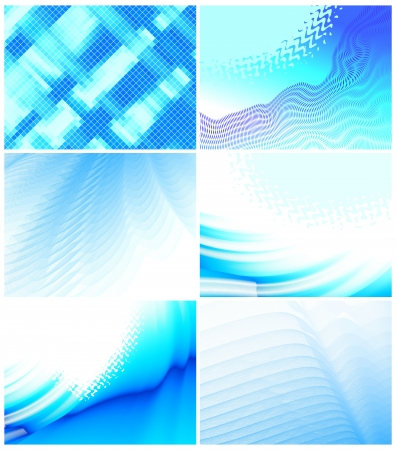 vibrant colors: set of 6 abstract blue backgrounds Illustration