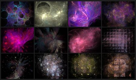 set of 9 beautiful abstract fractal backgrounds Stock Photo - 15224745