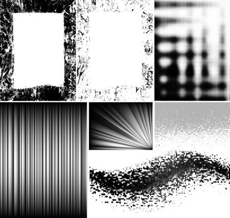 set of grunge frames, mesh strokes, halftone effects Vector