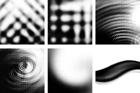 set of abstract backgrounds with halftone effects Vector