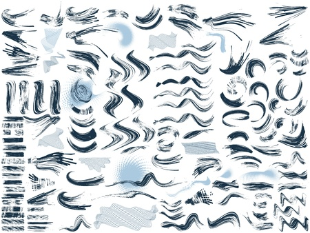 set of 124 brushes, 7 free transformed shapes, 5 halftone effects Vector