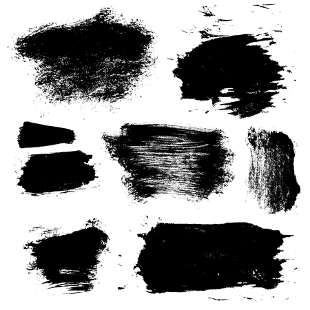 grungy header: set of 8 vector brush stains