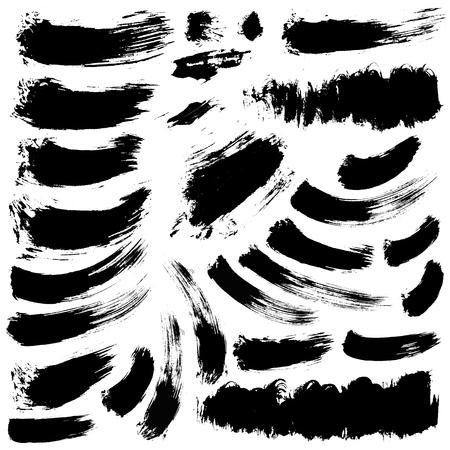 brush modern: set of 28 vector brush strokes and stains Illustration