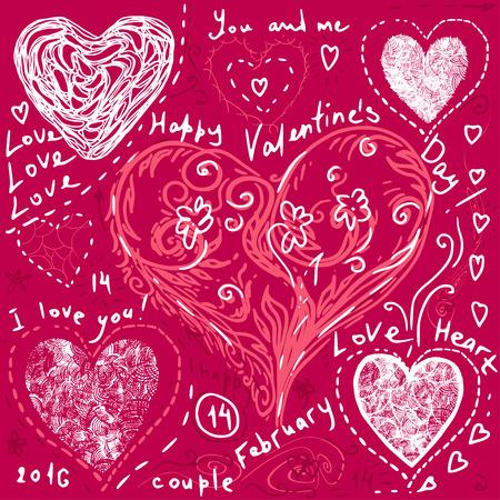 vector hearts: set of hand drawn hearts,  vector