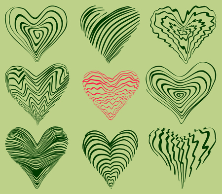 funky: set of funky hand drawn hearts,  vector