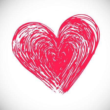 funky: funky hand drawn heart,  vector naive art Illustration
