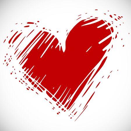 heart in hand: funky hand drawn heart,  vector naive art Illustration