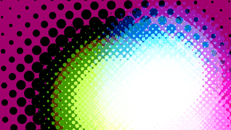 Wide format abstract background, trendy halftone effect. Stipple effect. Retro composition rhythmic bright dotted tiles. Full HD 4K colorful wallpaper. Pace for text. Vector with transparency