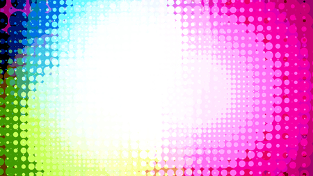 Wide format abstract background, trendy halftone effect. Stipple effect. Retro composition rhythmic bright dotted tiles. Full HD 4K colorful wallpaper. Pace for text. Vector EPS10 with transparency  イラスト・ベクター素材