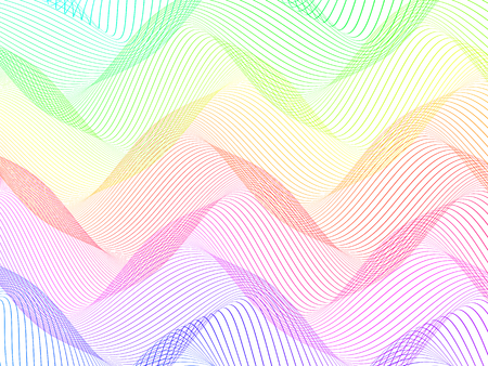 abstract colorful wireframe distortions, vector rhythmic composition
