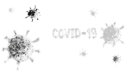 Concept of coronavirus microorganism. Word of coronavirus covid-19 theme. Vector with grunge and halftone effect, EPS10