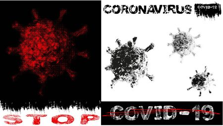 Concept of coronavirus microorganism. Words of coronavirus covid19 theme. Motivation slogan - stop covid-19. Letters with grunge and halftone effect, vector EPS10