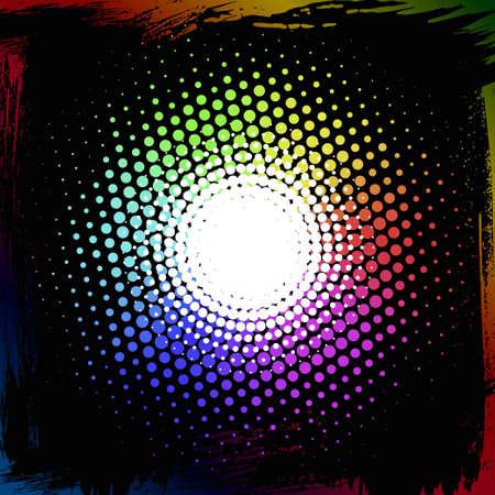 colorful halftone, spectrum radial gradient, vector EPS10 Ilustração