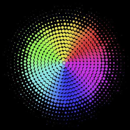 colorful halftone, spectrum radial gradient