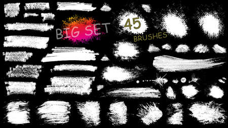 Big set of 45 vector EPS10 brush stroke stains. Collection of hand drawn brushes, high quality trace Imagens