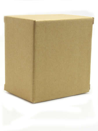 crimped: Carton box stands at the end. Isolated on a white background