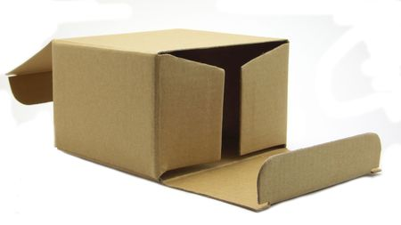 tare: open the carton lies with the side. Open from two sides. Isolated on a white background