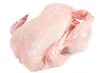 carcass meat: Uncooked chicken. Big and thick. Rests on the back. Isolated on a white background. Stock Photo
