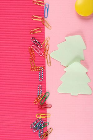 Clips, stickies.At coloured background. The model for posting your pictures or inscriptions. Stock Photo - 3485718
