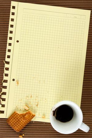 Biscuits, coffee, paper. At brown background.The model for posting your pictures or inscriptions. Stock Photo - 3485731