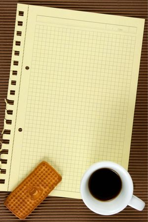 Paper,coffee, biscuits. At brown background. The model for posting your pictures or inscriptions. Stock Photo - 3485730