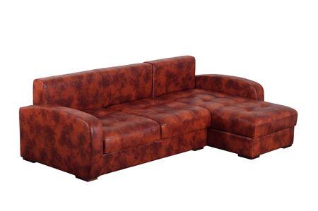 brown leather sofa: Divani in pelle marrone isolato su uno sfondo bianco. Archivio Fotografico