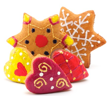 christmas cake: Christmas cookies of different shapes. All cookies are colored differently. Isolated on white background. Stock Photo