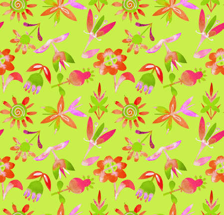 Floral seamless pattern with abstract colorful plants and flowers. Hand drawn watercolor botanical elements in folk style. Decorative backdrop for fashion prints, fabric, textile, wrapper or surface. Stock Photo