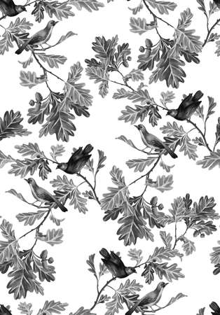 Botanical seamless pattern with birds, oak branches, leaves and acorns. Nature motif drawn by color pencils isolated on white. Great for bedding, fabric, clothes, wallpaper, wrapping.