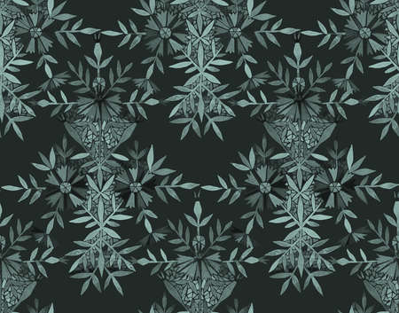 eamless watercolor pattern in folk style. Marigold flowers arranged in a geometric pattern. Tracery Floral Arrangement isolated on black. Great for fashion design,fabric, textile or wallpapers.