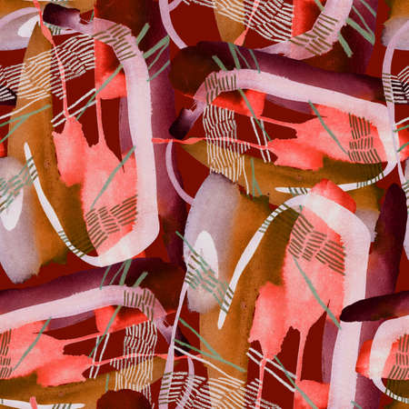 Seamless pattern. Hand drawn abstract watercolor paint brush strokes with pencil dashed lines and paint stains. Paper texture. Great for bedding, fabric, textile, wrapping, surface.
