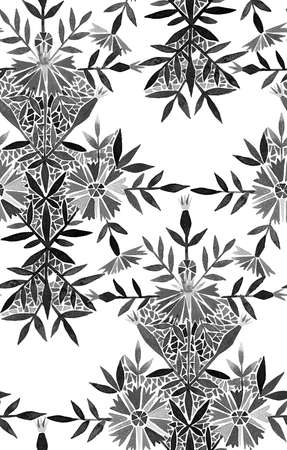 Seamless watercolor pattern in folk style. Marigold flowers arranged in a geometric pattern. Tracery Floral Arrangement isolated on white. Great for fashion design, fabric, textile or wallpapers.