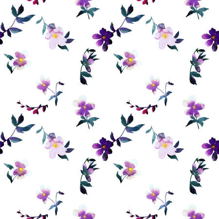 Simple watercolor floral seamless pattern. Botanical illustration with scatterred blooming marigold flowers, petals and leaves. Good for bedding, fabric, textile, wallpaper, interior decor, wrapping, surface.