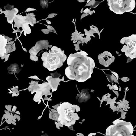 Watercolor floral seamless pattern. Black and white opulent blossom roses with foliage. Botanical ornament in vintage style. Backdrop for wallpaper, fabric, textile, texture or wrapper pattern,