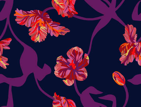 Seamless pattern made of flowers. Vector tulips background. Floral illustration for fashion design, bedding, fabric, textile, wallpaper, wrapping, surface, clothes